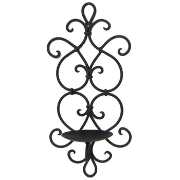 Black Scroll & Hearts Metal Wall Sconce